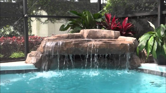 Waterfalls and or pool waterfalls-Broward Custom Concrete Solutions-We offer custom concrete solutions including Polished concrete, Stained concrete, Epoxy Floor, Sealed concrete, Stamped concrete, Concrete overlay, Concrete countertops, Concrete summer kitchens, Driveway repairs, Concrete pool water falls, and more